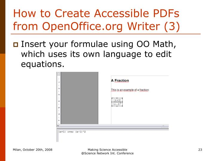 How to Create Accessible PDFs from OpenOffice.org Writer (3)