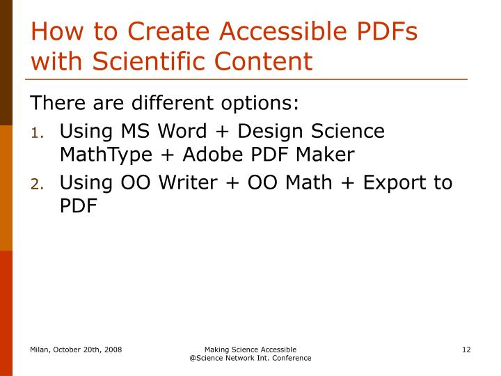 How to Create Accessible PDFs with Scientific Content
