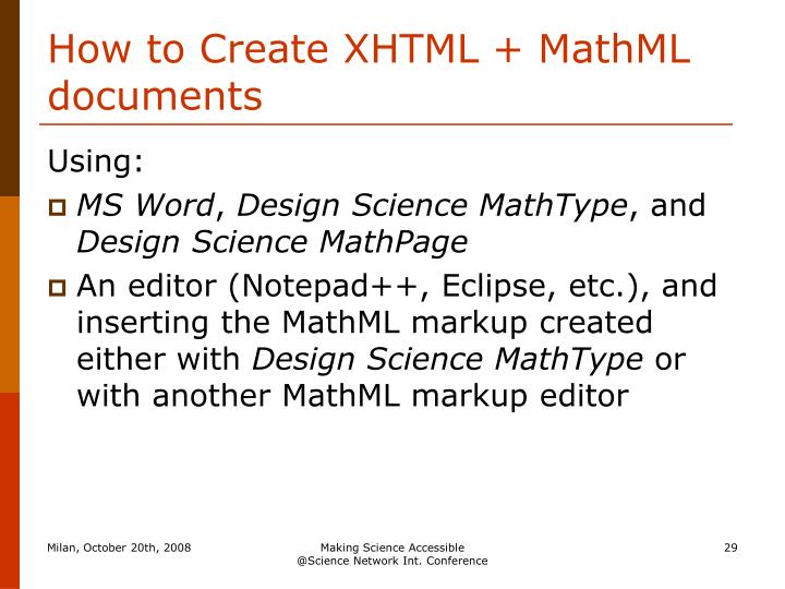 How to Create XHTML + MathML documents