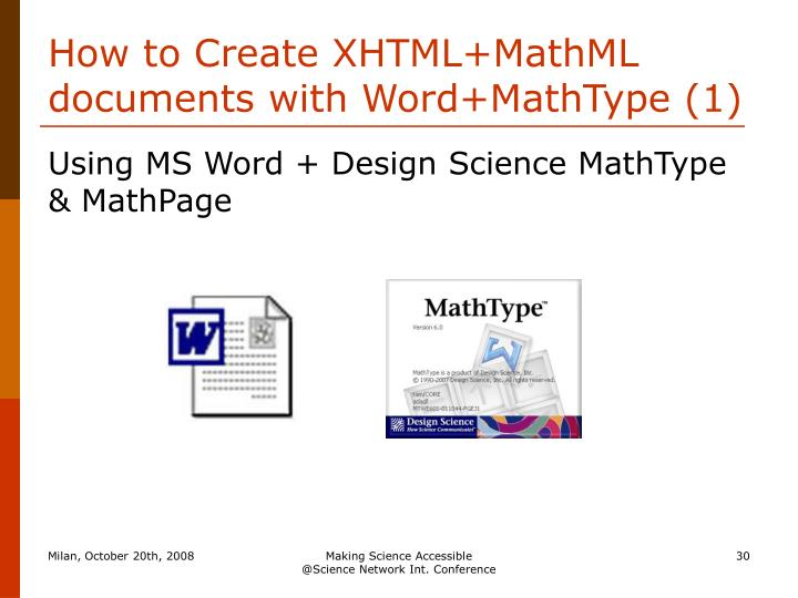 How to Create XHTML+MathML documents with Word+MathType (1)