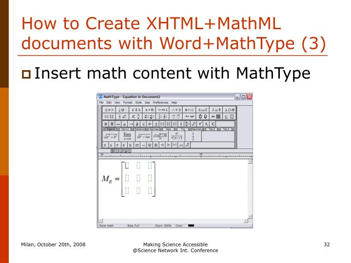 How to Create XHTML+MathML documents with Word+MathType (3)