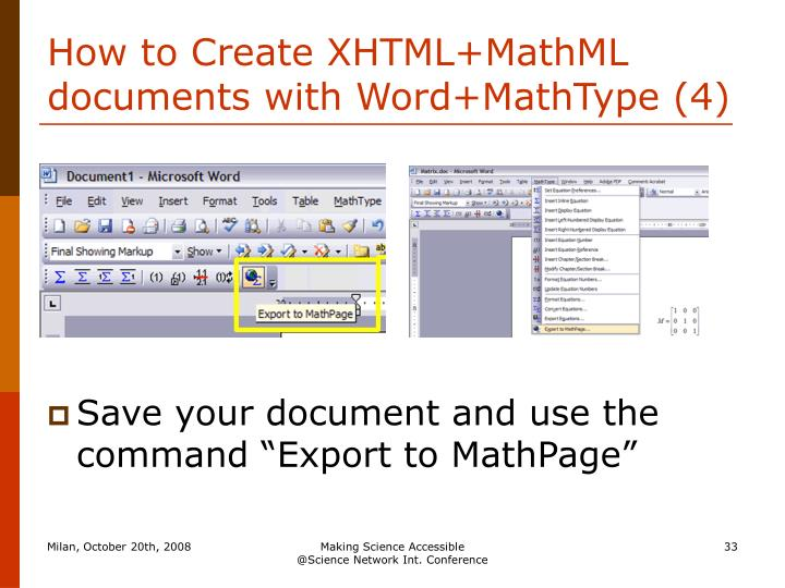 How to Create XHTML+MathML documents with Word+MathType (4)