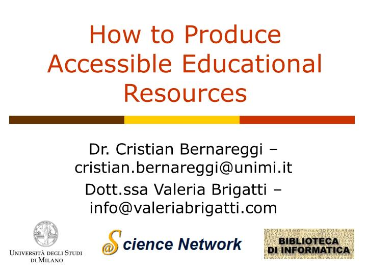 How to produce accessible educational resources