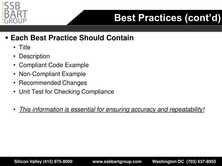 Best Practices (cont'd)