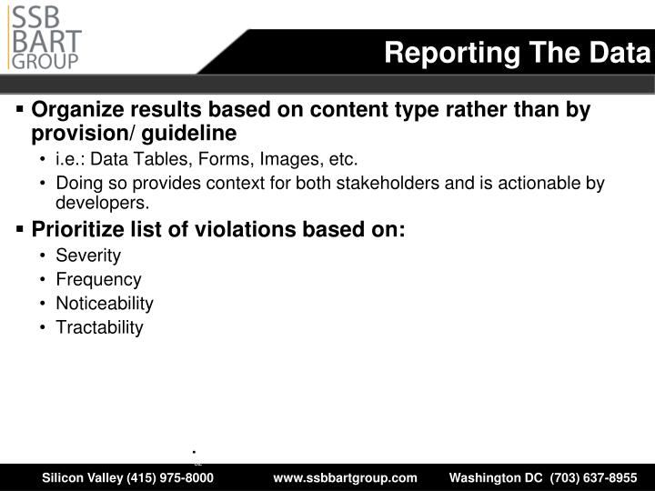 Organize results based on content type rather than by provision/ guideline