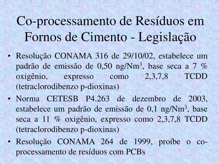Co-processamento de Resíduos em Fornos de Cimento - Legislação