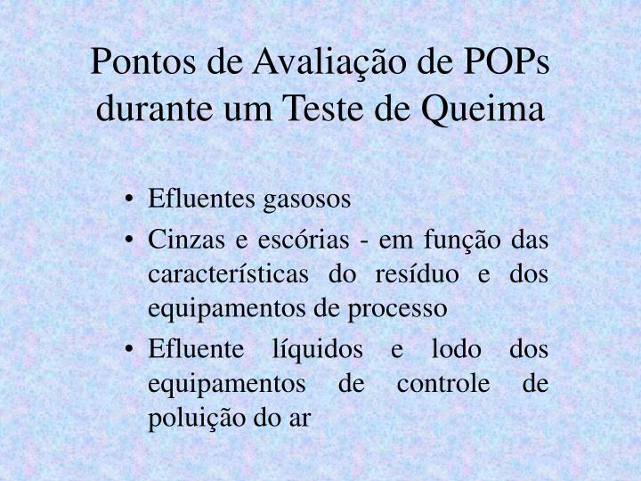 Pontos de Avaliação de POPs durante um Teste de Queima