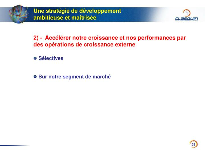 Une stratégie de développement