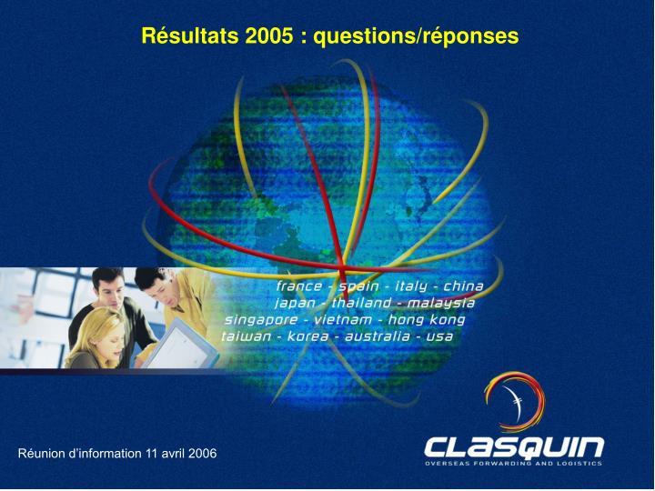 Résultats 2005 : questions/réponses