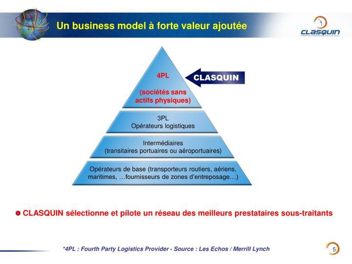 Un business model à forte valeur ajoutée