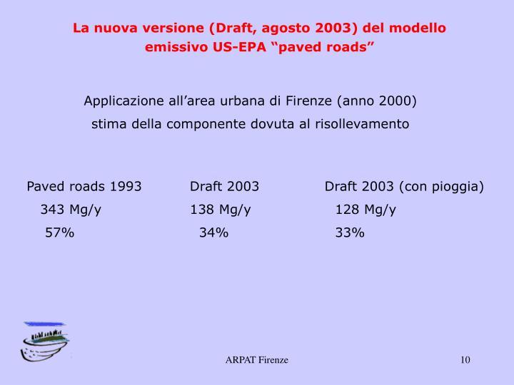 """La nuova versione (Draft, agosto 2003) del modello emissivo US-EPA """"paved roads"""""""