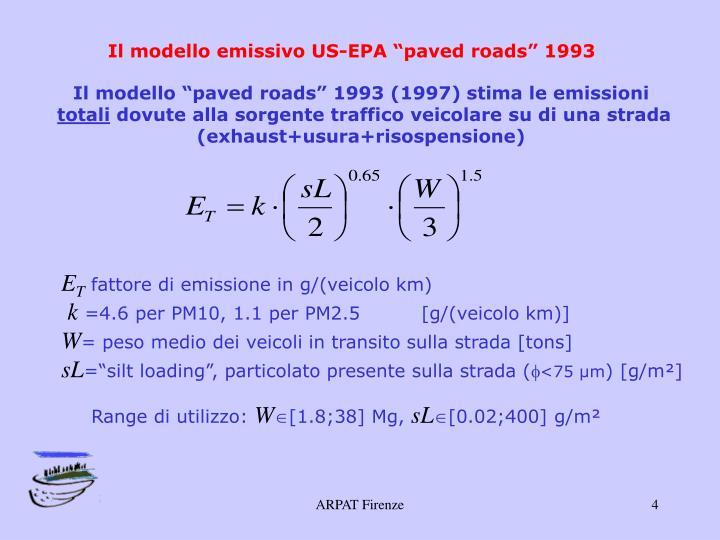 """Il modello emissivo US-EPA """"paved roads"""" 1993"""