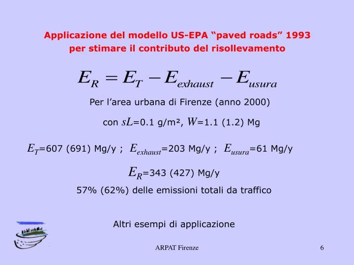 """Applicazione del modello US-EPA """"paved roads"""" 1993 per stimare il contributo del risollevamento"""