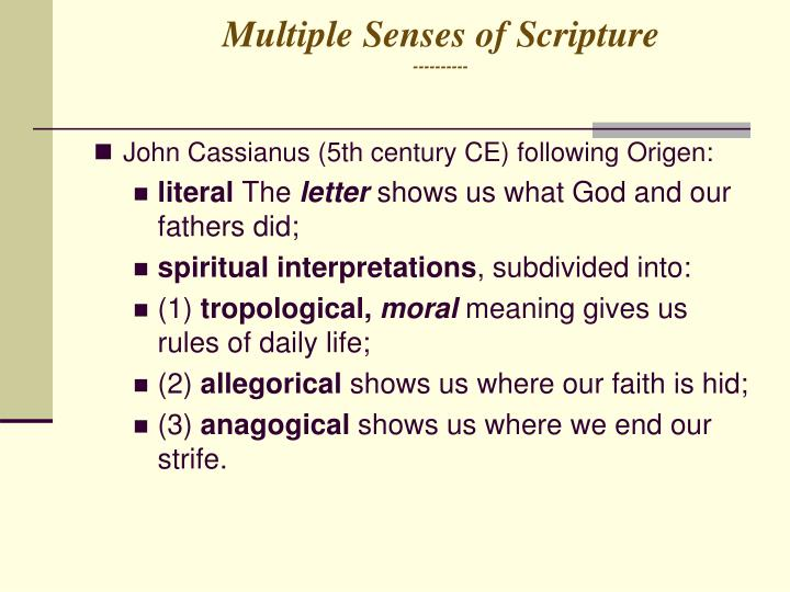 Multiple Senses of Scripture