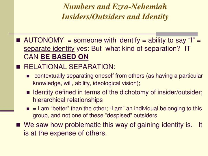 Numbers and Ezra-Nehemiah