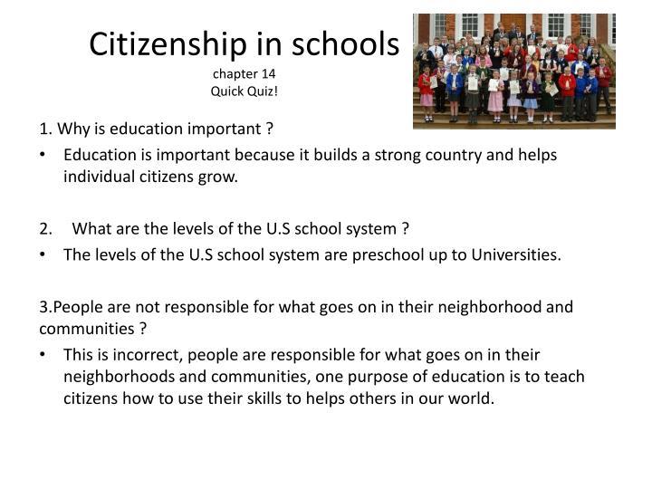 Citizenship in schools