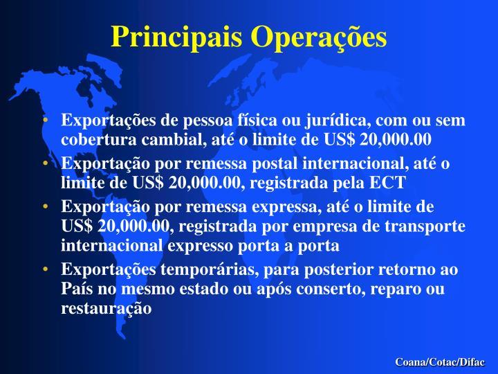 Principais Operações