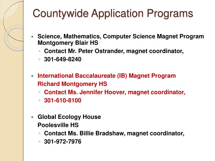 Countywide Application Programs