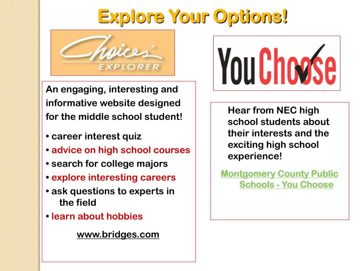 Explore Your Options!