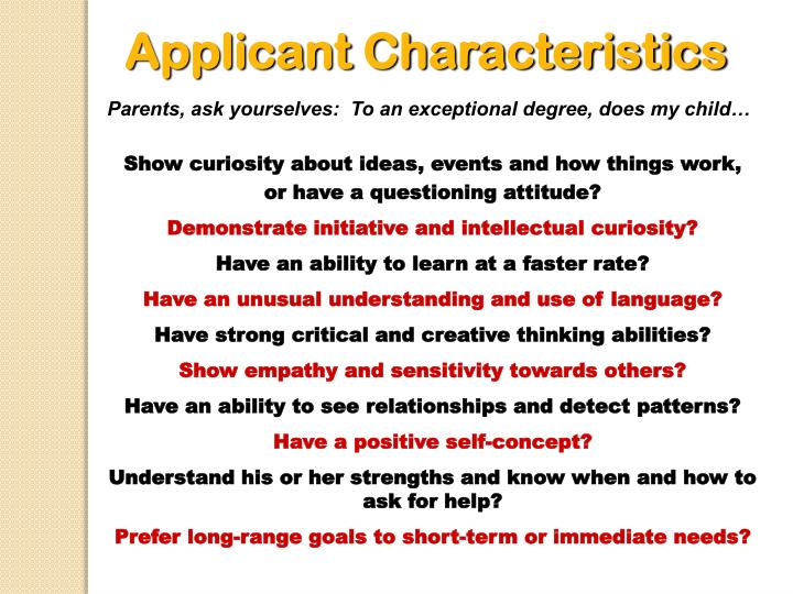 Applicant Characteristics