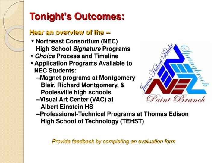 Tonight's Outcomes: