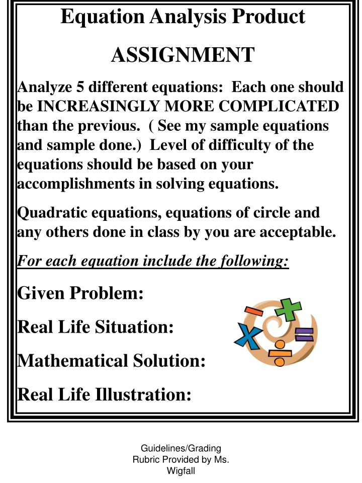 Equation Analysis Product
