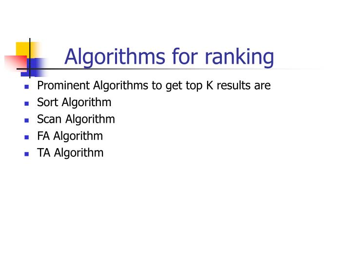 Algorithms for ranking
