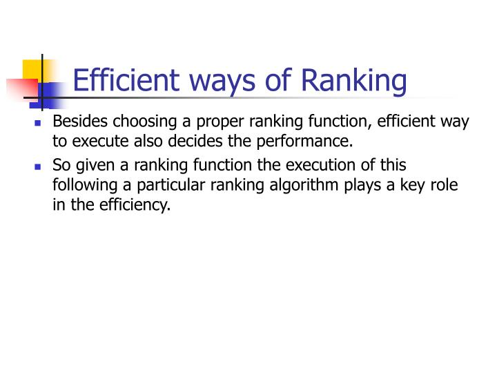 Efficient ways of Ranking
