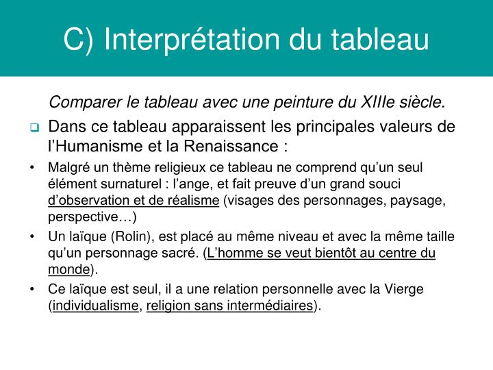 C) Interprtation du tableau