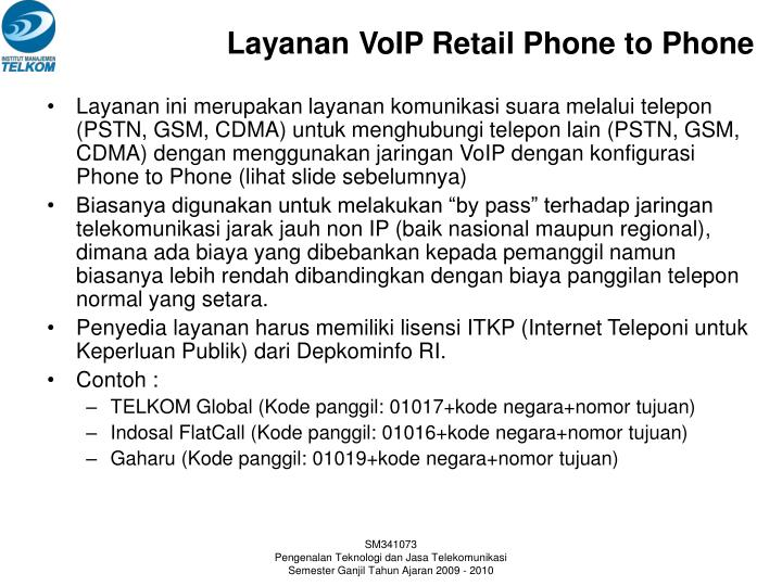 Layanan VoIP Retail Phone to Phone