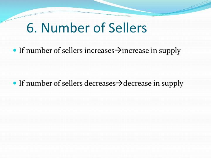 6. Number of Sellers