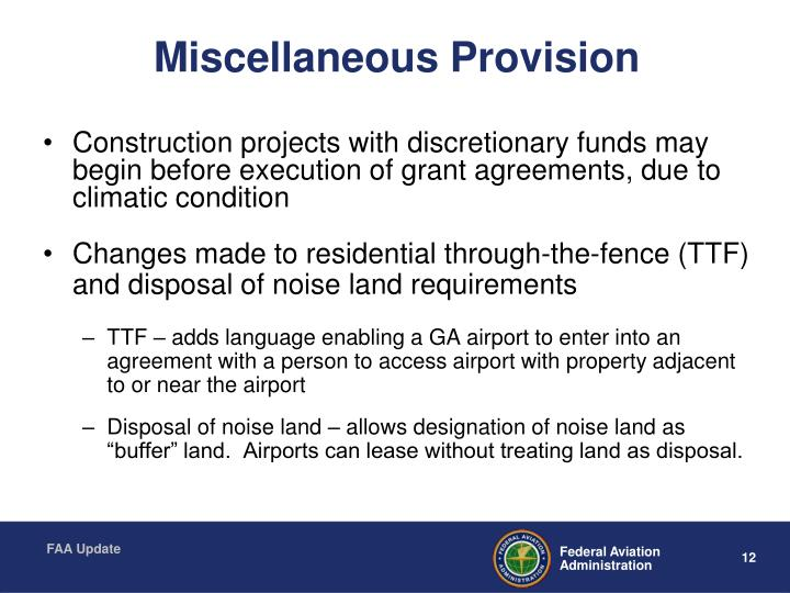 Miscellaneous Provision