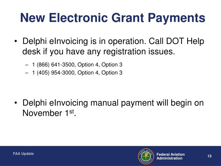 New Electronic Grant Payments