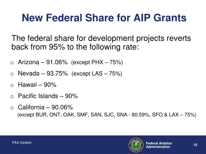 New Federal Share for AIP Grants