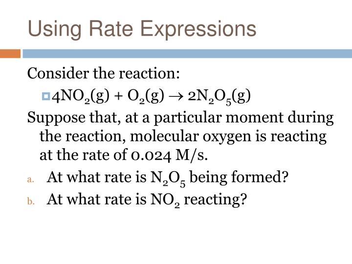 Using Rate Expressions