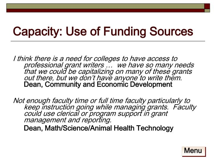 Capacity: Use of Funding Sources
