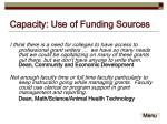capacity use of funding sources1