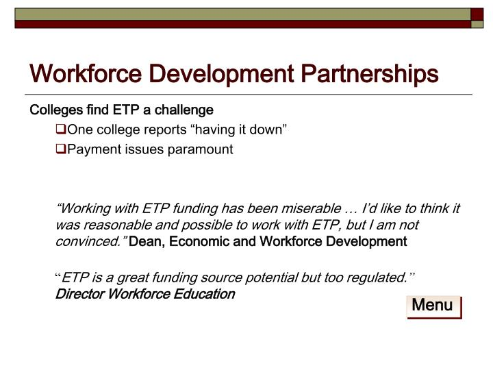 Colleges find ETP a challenge