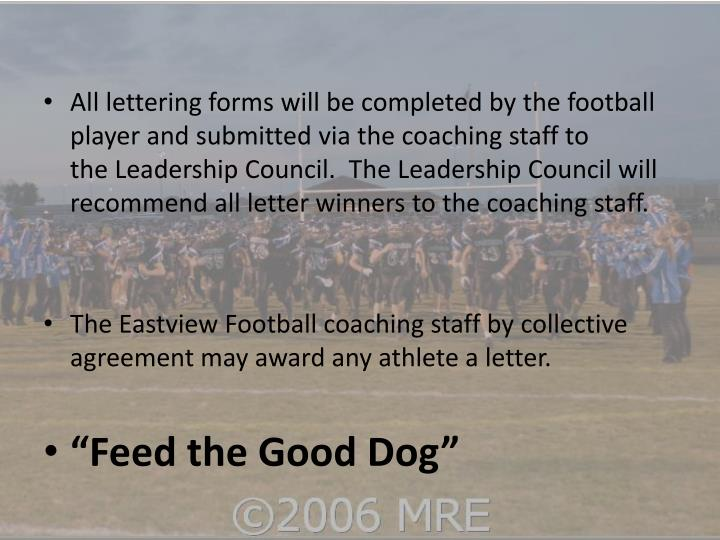 All lettering forms will be completed by the football player and submitted via the coaching staff to