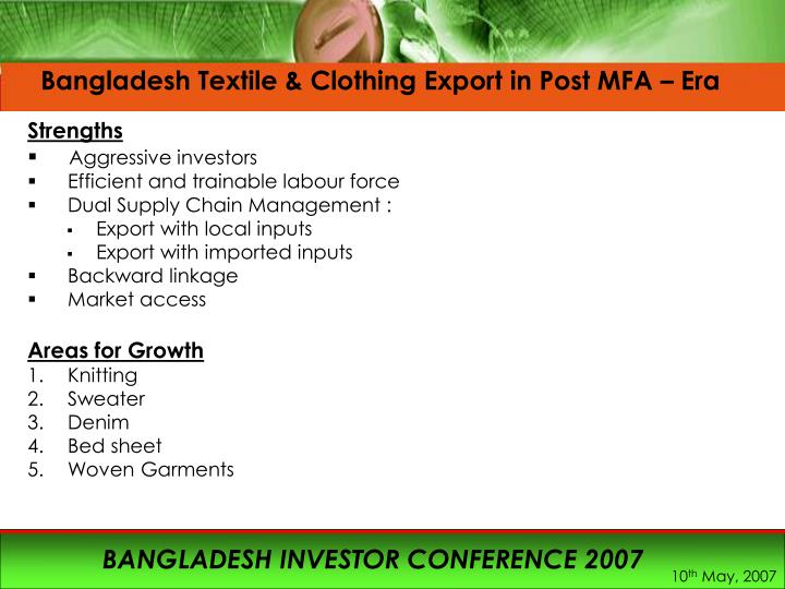 Bangladesh Textile & Clothing Export in Post MFA – Era