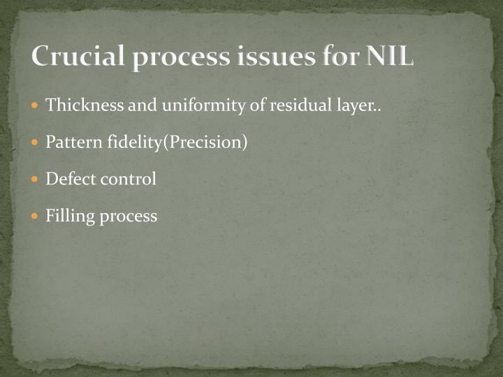 Crucial process issues for NIL