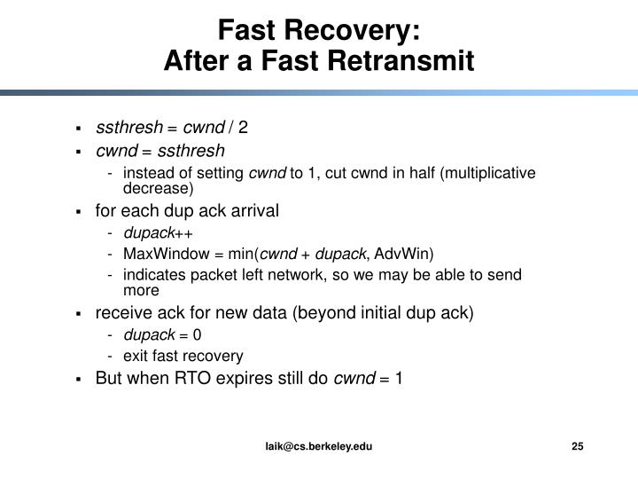 Fast Recovery: