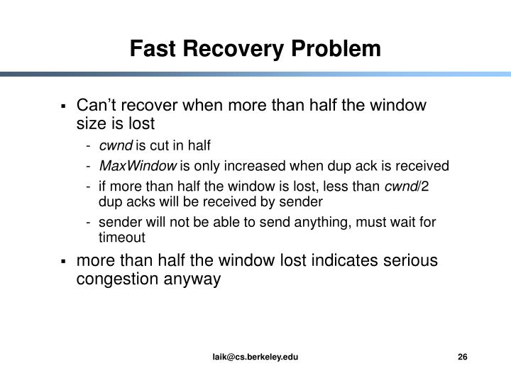 Fast Recovery Problem