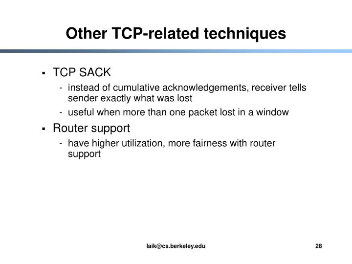 Other TCP-related techniques