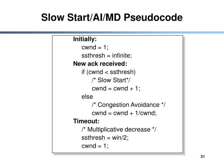 Slow Start/AI/MD Pseudocode