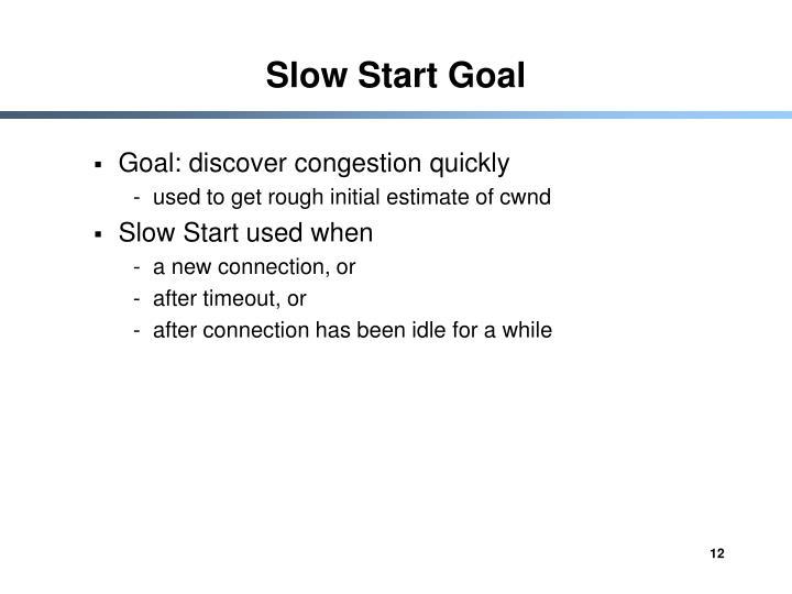 Slow Start Goal