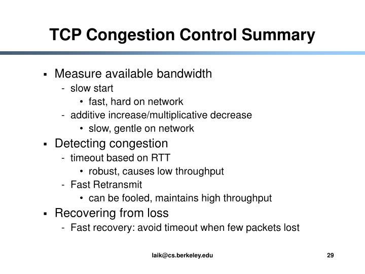 TCP Congestion Control Summary
