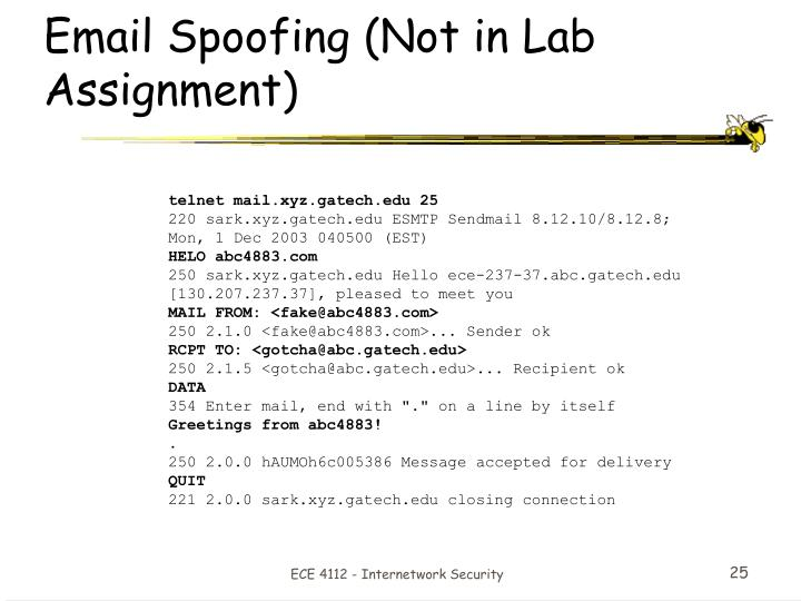 Email Spoofing (Not in Lab Assignment)