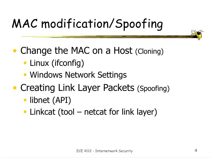 MAC modification/Spoofing