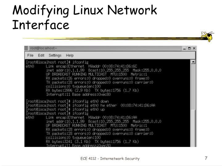 Modifying Linux Network Interface